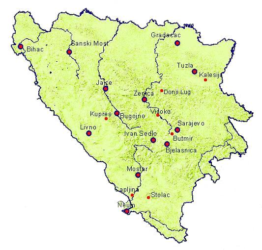 bugojno karta Federal Hydrometeorology Institute of BH   Maps of stations in FBH bugojno karta